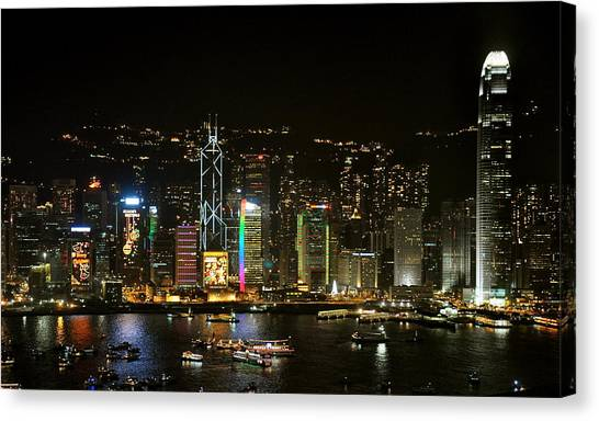 Hong Kong On A December Night Canvas Print