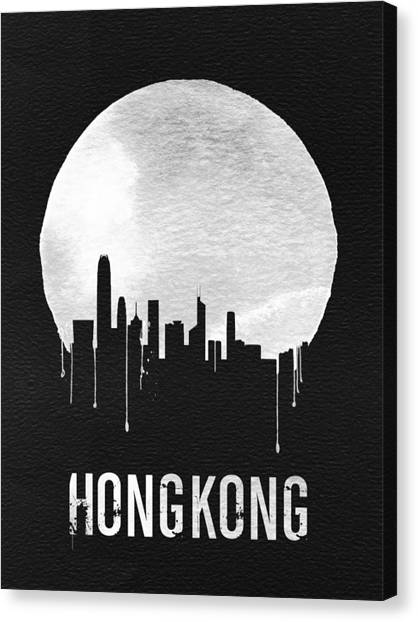 Moon Canvas Print - Hong Kong Skyline Black by Naxart Studio