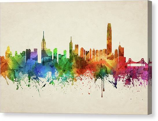 Hong Kong Canvas Print - Hong Kong Skyline Chhk05 by Aged Pixel