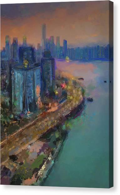Hong Kong Skyline Painting Canvas Print