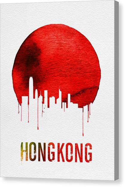 Hong Kong Canvas Print - Hong Kong Skyline Red by Naxart Studio