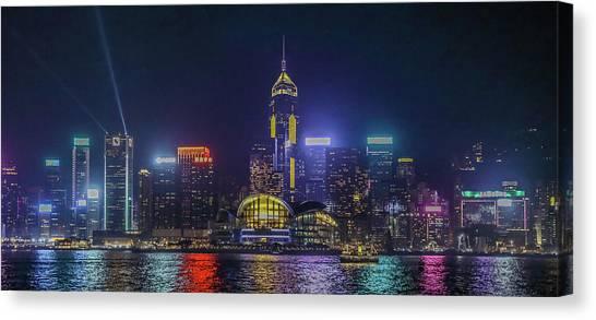 Hongkong Canvas Print - Hongkong At Night by Hyuntae Kim