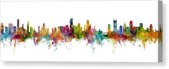 Miami Skyline Canvas Print - Honolulu, Miami And Nashville Skylines Mashup by Michael Tompsett