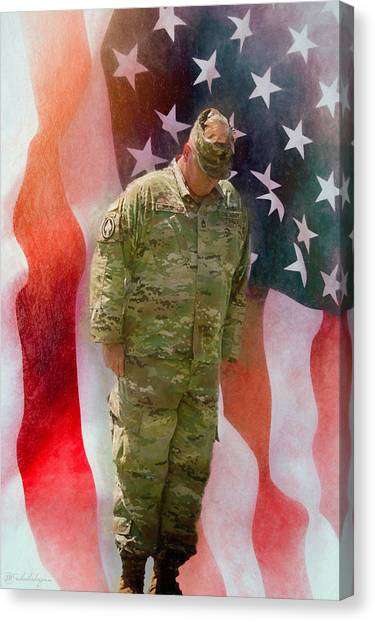 Blue Camo Canvas Print - Honoring Their Sacrifice by Rick Wiles