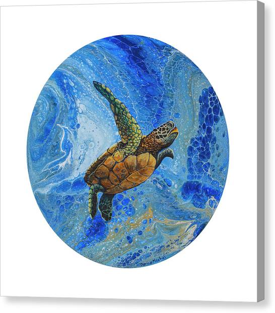 Canvas Print featuring the painting Honu Amakua by Darice Machel McGuire