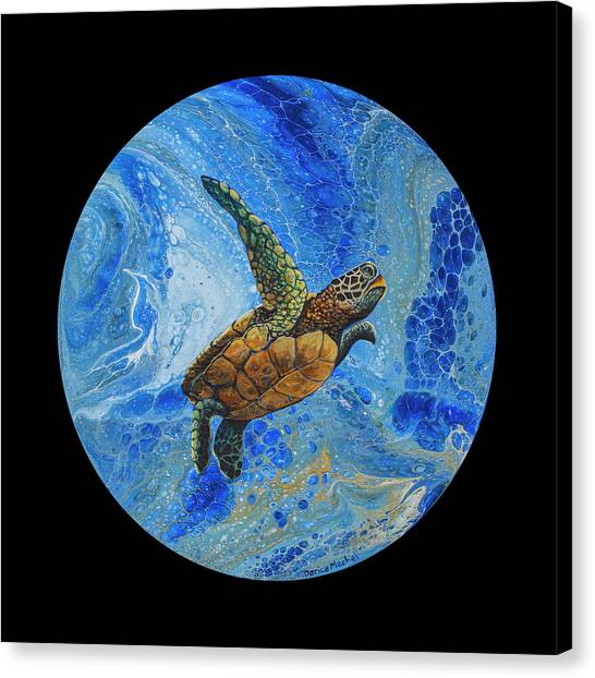 Canvas Print featuring the painting Honu Amakua On Black by Darice Machel McGuire