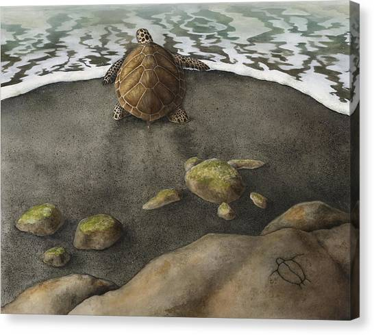 Turtles Canvas Print - Honu Beach by Kirsten Carlson