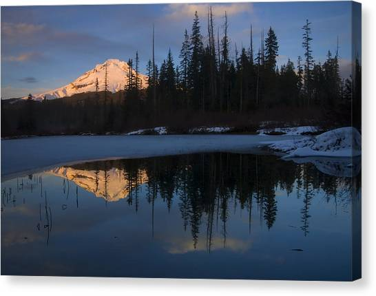 Mt. Hood Canvas Print - Hood Alpenglow by Mike  Dawson