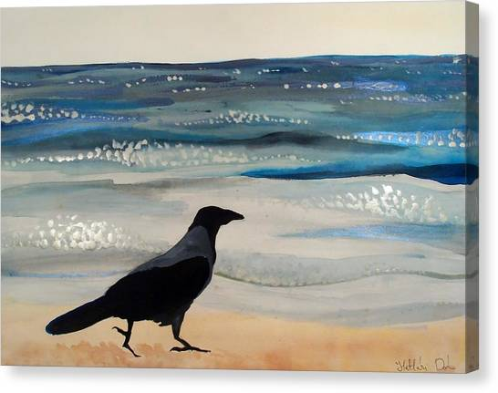Hooded Crow At The Black Sea By Dora Hathazi Mendes Canvas Print