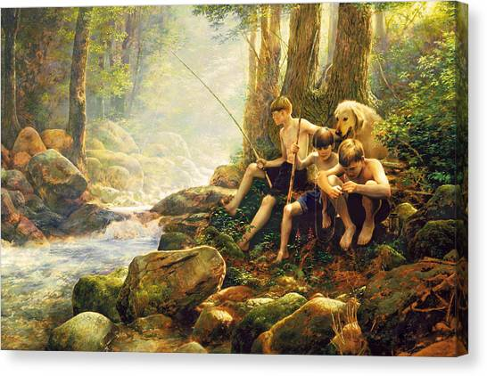 Fly Fishing Canvas Print - Hook Line And Summer by Greg Olsen