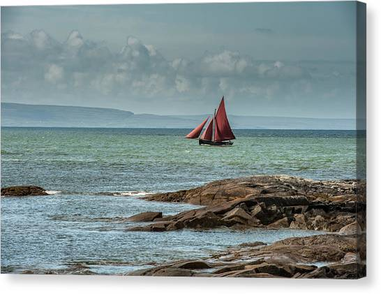 Galway Hooker Canvas Print - Hooker Boat, Galway by James Cronin