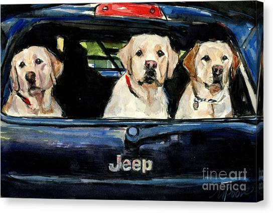 Yellow Lab Canvas Print - Hooligans by Molly Poole