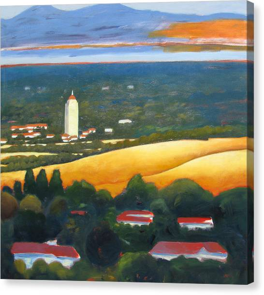 Pac 12 Canvas Print - Hoover Tower From Hills by Gary Coleman