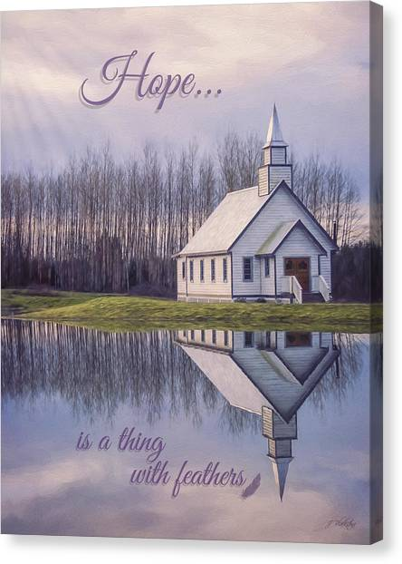 Hope Is A Thing With Feathers - Inspirational Art Canvas Print