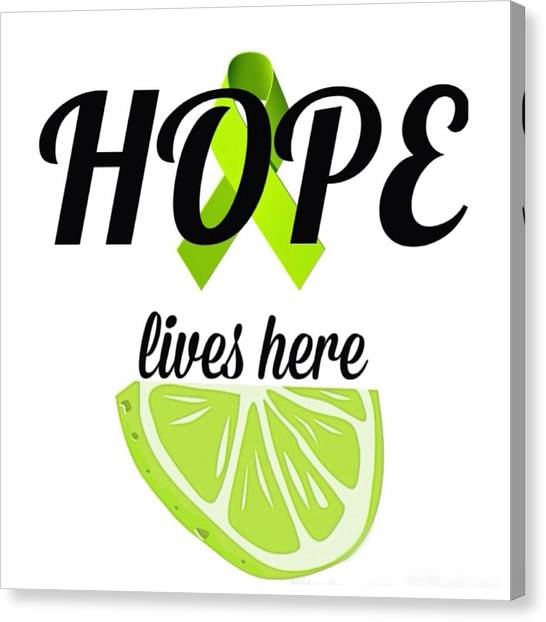 Ticks Canvas Print - Hope Lives Here Lyme Disease Awareness Ribbon And Lime by Laura Michelle Corbin