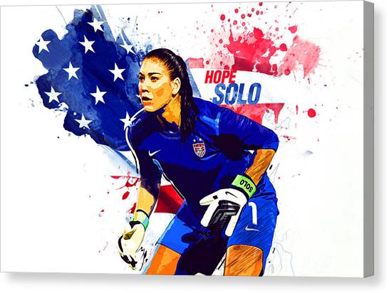 Clint Dempsey Canvas Print - Hope Solo by Semih Yurdabak
