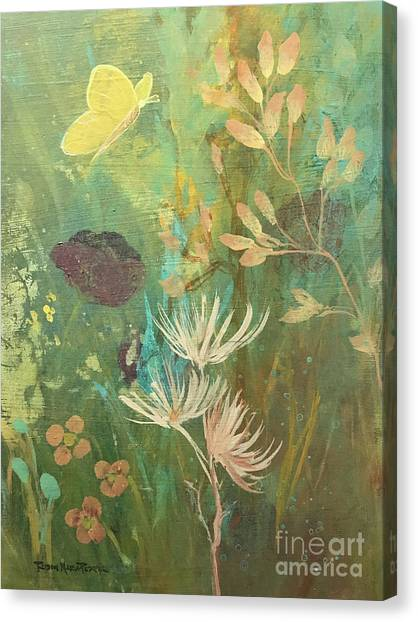 Canvas Print featuring the painting Hopeful Golden Wings by Robin Maria Pedrero