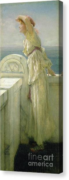 Waiting Girl Canvas Print - Hopeful by Sir Lawrence Alma-Tadema