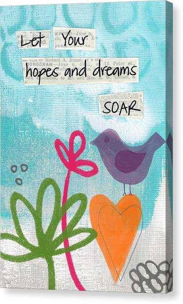 Heart Canvas Print - Hopes And Dreams Soar by Linda Woods