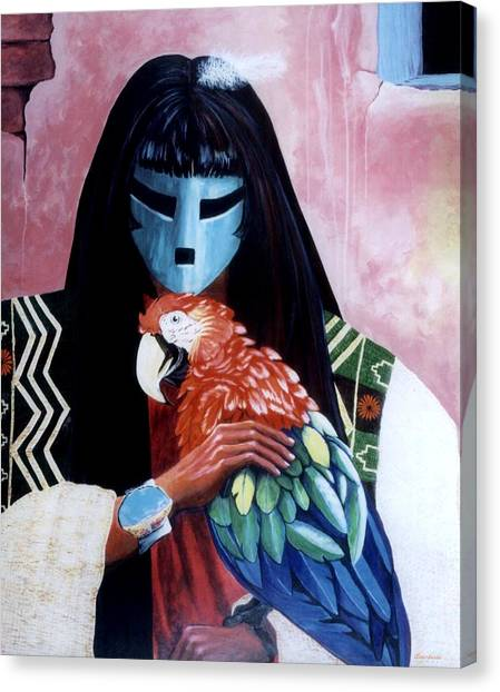 Hopi Dances And The Red Macaw Canvas Print