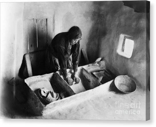 Indian Corn Canvas Print - Hopi: Grinding Corn, C1911 by Granger