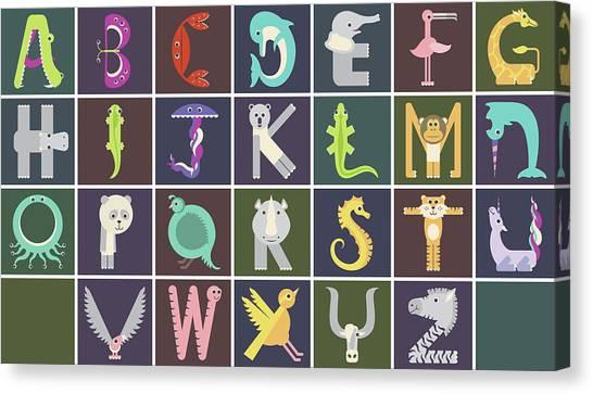 Horizontal Animal Alphabet Complete Poster Canvas Print