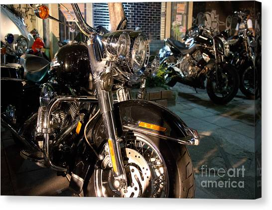 Horizontal Front View Of Fat Cruiser Motorcycle With Chrome Fork Canvas Print