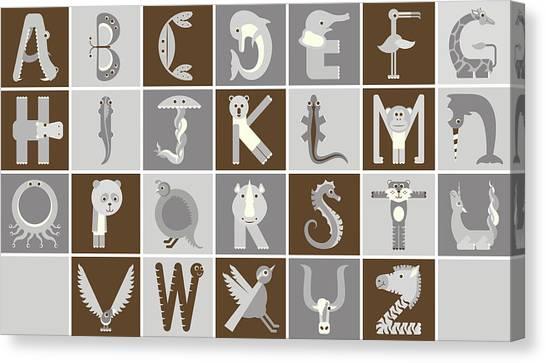 Horizontal Neutral Animal Alphabet Complete Poster Canvas Print
