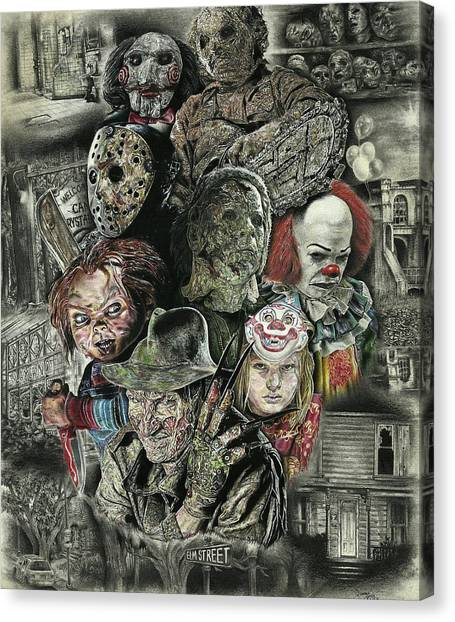 Saws Canvas Print - Horror Movie Murderers by Daniel Ayala
