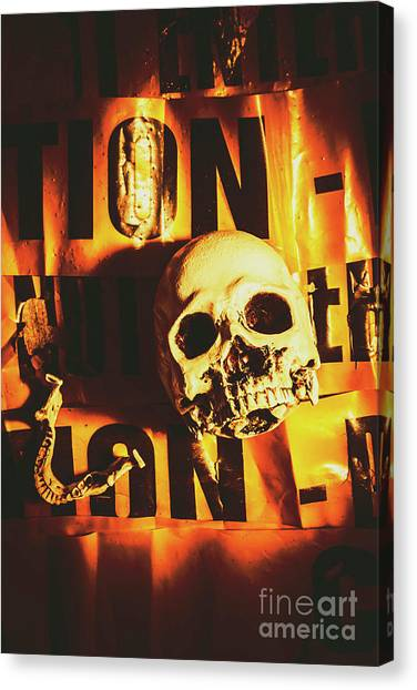 Caution Canvas Print - Horror Skulls And Warning Tape by Jorgo Photography - Wall Art Gallery
