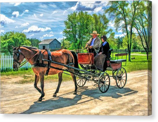 Farmstead Canvas Print - Horse And Buggy At Old World Wisconsin by Christopher Arndt