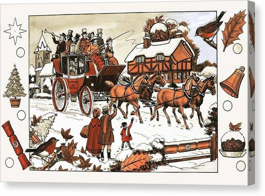 Carriage Canvas Print - Horse And Carriage In The Snow by English School
