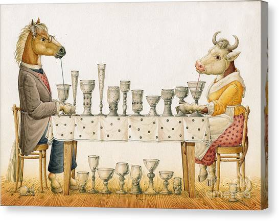 Horse And Cow Canvas Print by Kestutis Kasparavicius