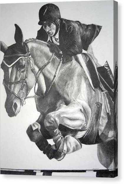 Horse And Jockey Canvas Print by Darcie Duranceau