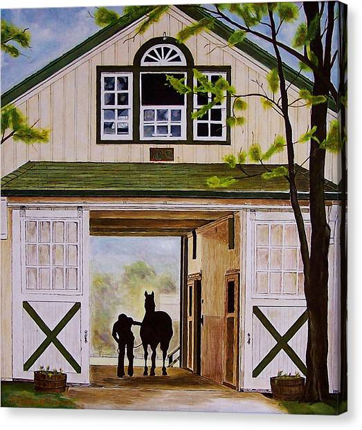 Horse Barn Canvas Print by Michael Lewis