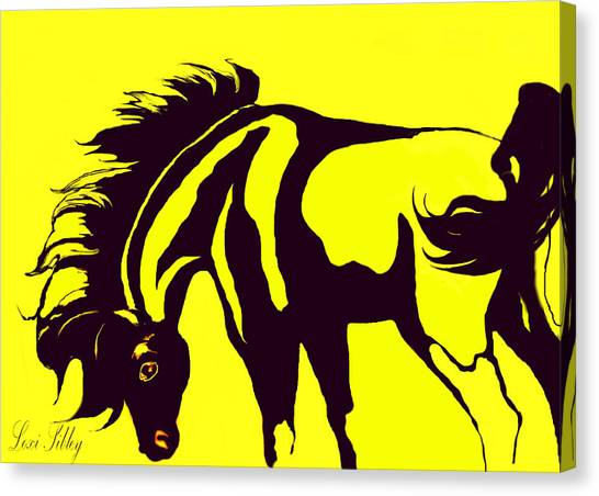 Horse-black And Yellow Canvas Print