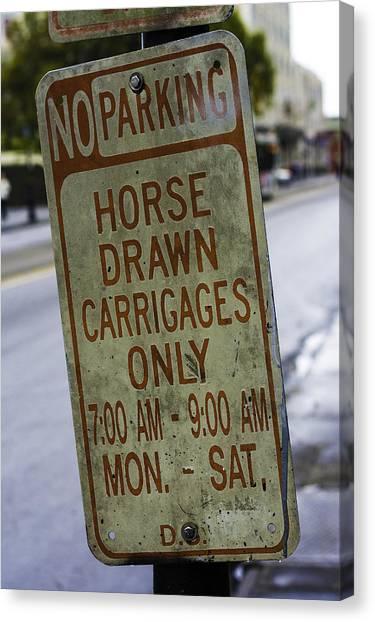 Horse Drawn Carriage Parking Canvas Print