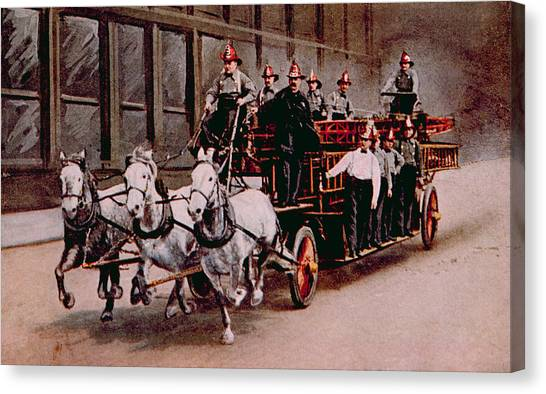 Jt History Canvas Print - Horse-drawn Fire Engine On The Way by Everett