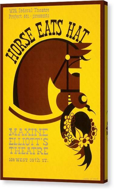 Horse Eats Hat - Maxine Elliot's Theatre - Vintage Poster Restored Canvas Print