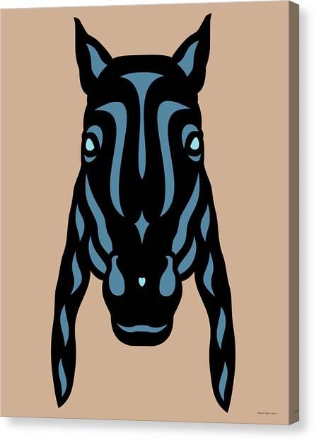 Horse Face Rick - Horse Pop Art - Hazelnut, Niagara Blue, Island Paradise Blue Canvas Print