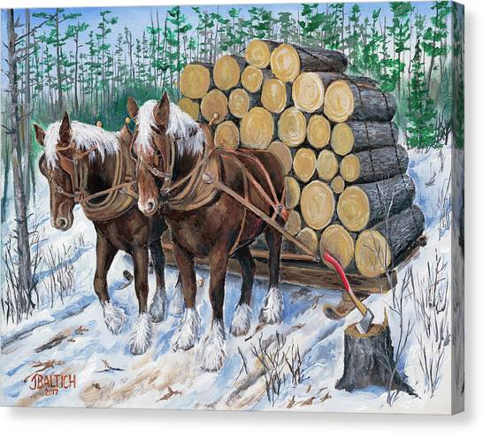Horse Log Team Canvas Print