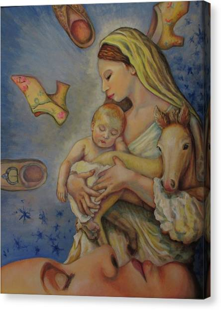 Rennaissance Art Canvas Print - Horse Madonna Dreamer by Karen Nell McKean