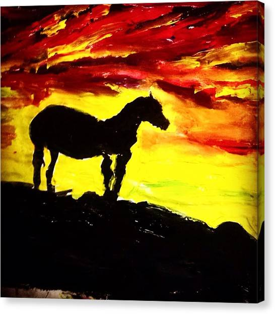 God Canvas Print - Horse Rider In The Sunset by Love Art Wonders By God