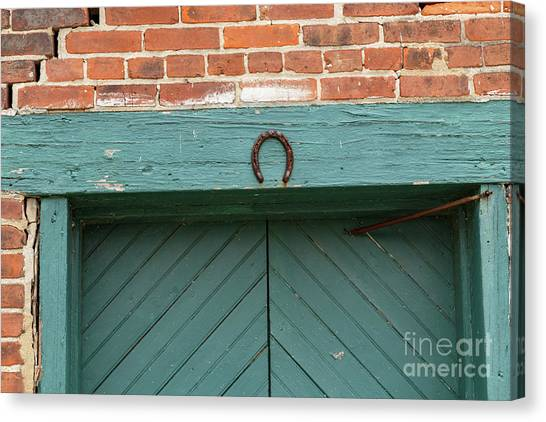 Horse Shoe On Old Door Frame Canvas Print