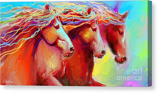 Horse Stampede Painting Canvas Print