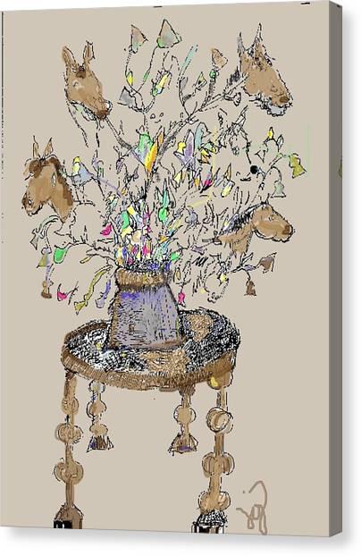 Horse Table Canvas Print