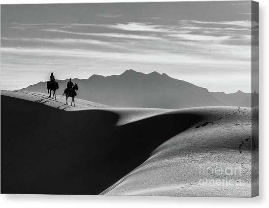 Horseback At White Sands Canvas Print
