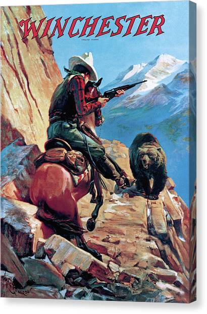 Canvas Print featuring the painting Horseman And Bear by H G Edwards