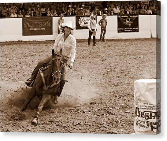 Barrel Racing Canvas Print - Horsepower by Bill Keiran