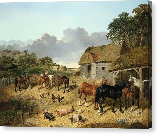 Horse Farms Canvas Print - Horses Drinking From A Water Trough, With Pigs And Chickens In A Farmyard by John Frederick Herring Jr